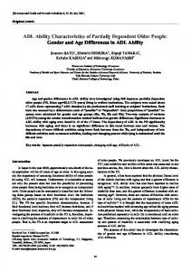 ADL ability characteristics of partially dependent older people: Gender and age differences in ADL ability