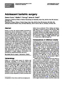 Adolescent bariatric surgery