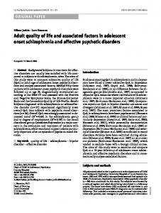 Adult quality of life and associated factors in adolescent onset schizophrenia and affective psychotic disorders