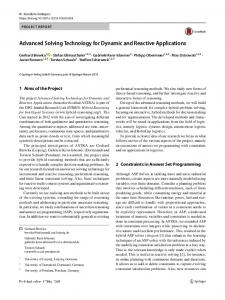 Advanced Solving Technology for Dynamic and Reactive Applications