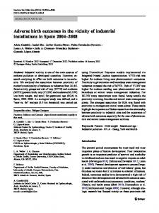 Adverse birth outcomes in the vicinity of industrial installations in Spain 2004–2008