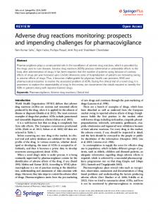 Adverse drug reactions monitoring: prospects and impending challenges for pharmacovigilance