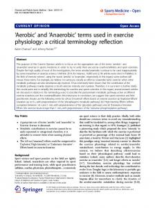 'Aerobic' and 'Anaerobic' terms used in exercise physiology: a critical terminology reflection