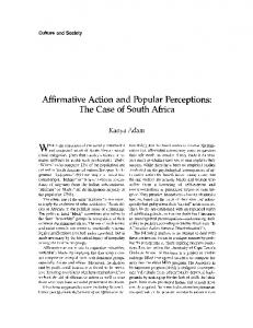 Affirmative action and popular perceptions: The case of South Africa