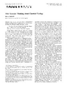 After Louvain: Thinking about Chemical Ecology