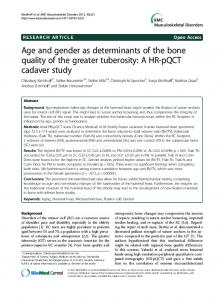 Age and gender as determinants of the bone quality of the greater tuberosity: A HR-pQCT cadaver study