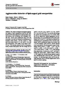Agglomeration behavior of lipid-capped gold nanoparticles