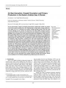 Air-Sea Interaction, Coastal Circulation and Primary Production in the Eastern Arabian Sea: A Review