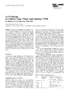 """Al, Si ordering in cordierite using """"magic angle spinning"""" NMR"""