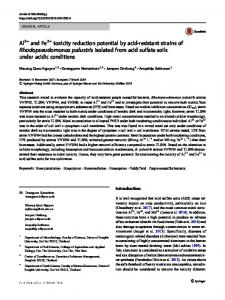 Al3+ and Fe2+ toxicity reduction potential by acid-resistant strains of Rhodopseudomonas palustris isolated from acid sulfate soils under acidic conditions
