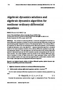 Algebraic dynamics solutions and algebraic dynamics algorithm for nonlinear ordinary differential equations