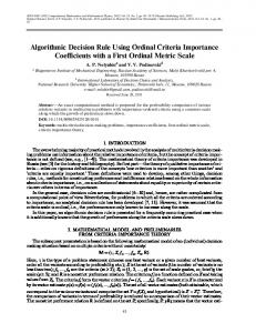 Algorithmic decision rule using ordinal criteria importance coefficients with a first ordinal metric scale