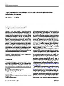 Algorithms and Complexity Analysis for Robust Single-Machine Scheduling Problems