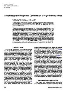 Alloy Design and Properties Optimization of High-Entropy Alloys