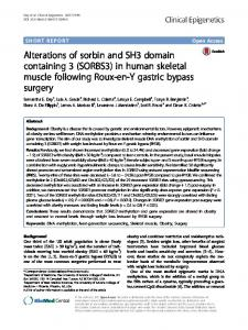 Alterations of sorbin and SH3 domain containing 3 (SORBS3) in human skeletal muscle following Roux-en-Y gastric bypass surgery