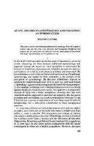Alvin I. Goldman's Epistemology and Cognition: An introduction