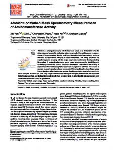 Ambient Ionization Mass Spectrometry Measurement of Aminotransferase Activity