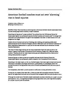 American football coaches must act over 'alarming' rise in head injuries