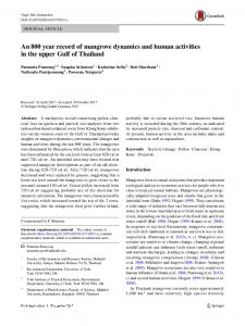 An 800 year record of mangrove dynamics and human activities in the upper Gulf of Thailand