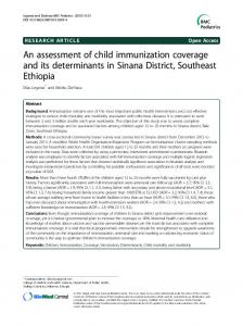 An assessment of child immunization coverage and its determinants in Sinana District, Southeast Ethiopia