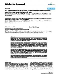 An assessment of various blood collection and transfer methods used for malaria rapid diagnostic tests