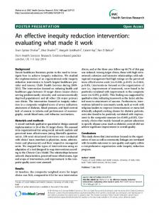 An effective inequity reduction intervention: evaluating what made it work