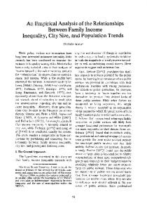 An empirical analysis of the relationships between family income inequality, city size, and population trends