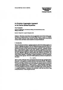 An Eulerian–Lagrangian Approach¶to the Navier–Stokes Equations