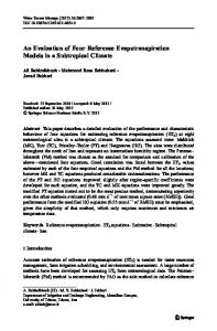 An Evaluation of Four Reference Evapotranspiration Models in a Subtropical Climate