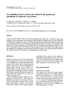 An evaluation of straw-extract agar media for the growth and sporulation of Madurella mycetomatis