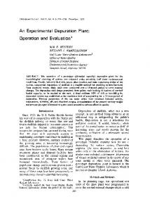 An experimental depuration plant: Operation and evaluation