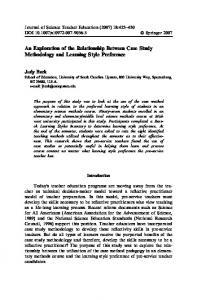 An Exploration of the Relationship Between Case Study Methodology and Learning Style Preference