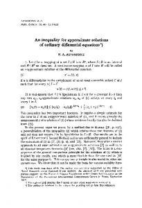 An inequality for approximate solutions of ordinary differential equations