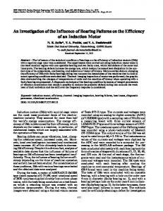 An investigation of the influence of bearing failures on the efficiency of an induction motor