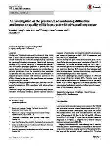 An investigation of the prevalence of swallowing difficulties and impact on quality of life in patients with advanced lung cancer