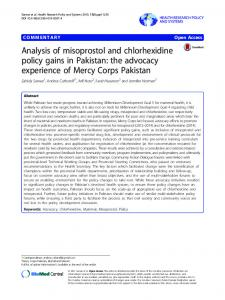 Analysis of misoprostol and chlorhexidine policy gains in Pakistan: the advocacy experience of Mercy Corps Pakistan