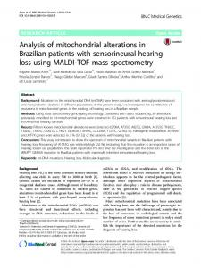 Analysis of mitochondrial alterations in Brazilian patients with sensorineural hearing loss using MALDI-TOF mass spectrometry