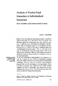 Analysis of teacher-pupil interaction in individualized instruction