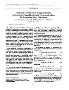 Analytical constructions of eigensolutions for isotropic conical bodies and their applications for estimating stress singularity