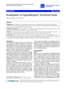 Anaphylaxis to hyperallergenic functional foods