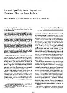 Anatomic specificity in the diagnosis and treatment of internal rectal prolapse