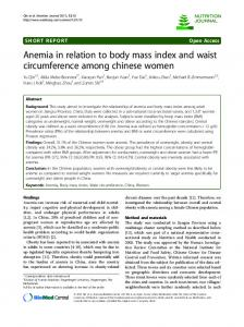 Anemia in relation to body mass index and waist circumference among chinese women