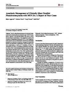 Anesthetic Management of Clinically Silent Familial Pheochromocytoma with MEN 2A: A Report of Four Cases