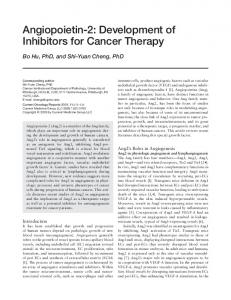 Angiopoietin-2: Development of inhibitors for cancer therapy