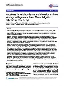Anopheles larval abundance and diversity in three rice agro-village complexes Mwea irrigation scheme, central Kenya