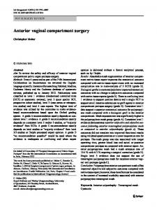 Anterior vaginal compartment surgery