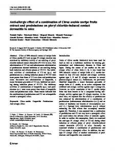 Anti-allergic effect of a combination of Citrus unshiu unripe fruits extract and prednisolone on picryl chloride-induced contact dermatitis in mice