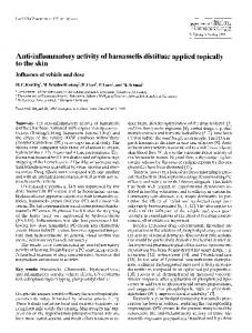 Anti-inflammatory activity of hamamelis distillate applied topically to the skin