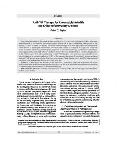 Anti-TNF therapy for rheumatoid arthritis and other inflammatory diseases