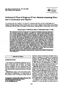 Antibacterial effects of vulgarone B from Artemisia iwayomogi alone and in combination with oxacillin